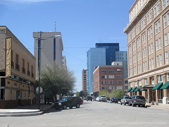 "Professional Wrestling Hall of Fame and Museum - View of Downtown Wichita Falls, TX including the First Wichita building (""Big Blue""), now home to the PWHF"