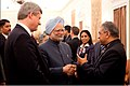 Dr Aditya Jha, Dr Manmohan Singh, Stephen Harper in India 2009.jpg