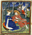 Duke and ladies in a garden - Collected Works of Christine de Pisan (1410-1411), f.145 - BL Harley MS 4431.jpg