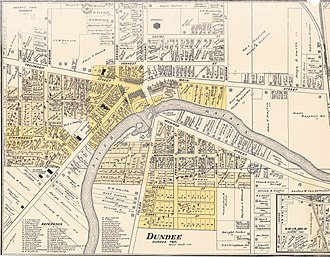Dundee, Michigan - 1901 cadastral map of Dundee, Michigan showing property lines and major landowners.