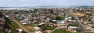 Durán, Ecuador - Panorama view of downtown Alfaro area and Guayas River, Durán, Guayas