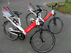 """Pedelec - Deutsche Bahn pedelecs with rear hub motors and batteries placed inside the frames. This is the """"Jetstream"""" from Riese und Müller."""