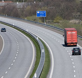 European route E45 - Most northern exit on the Danish part of E 45; just south of Frederikshavn
