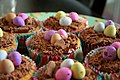 Easter cupcakes with chocolate eggs, March 2008.jpg
