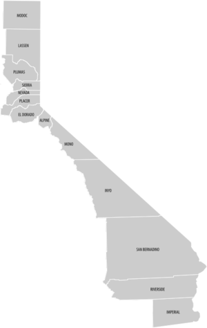 Eastern California - Image: Eastern California county map