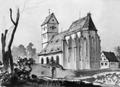 Echterdingen, Blick zur Kirche von Osten, lavierte Zeichnung von Eduard v. Kallee, 1878.png