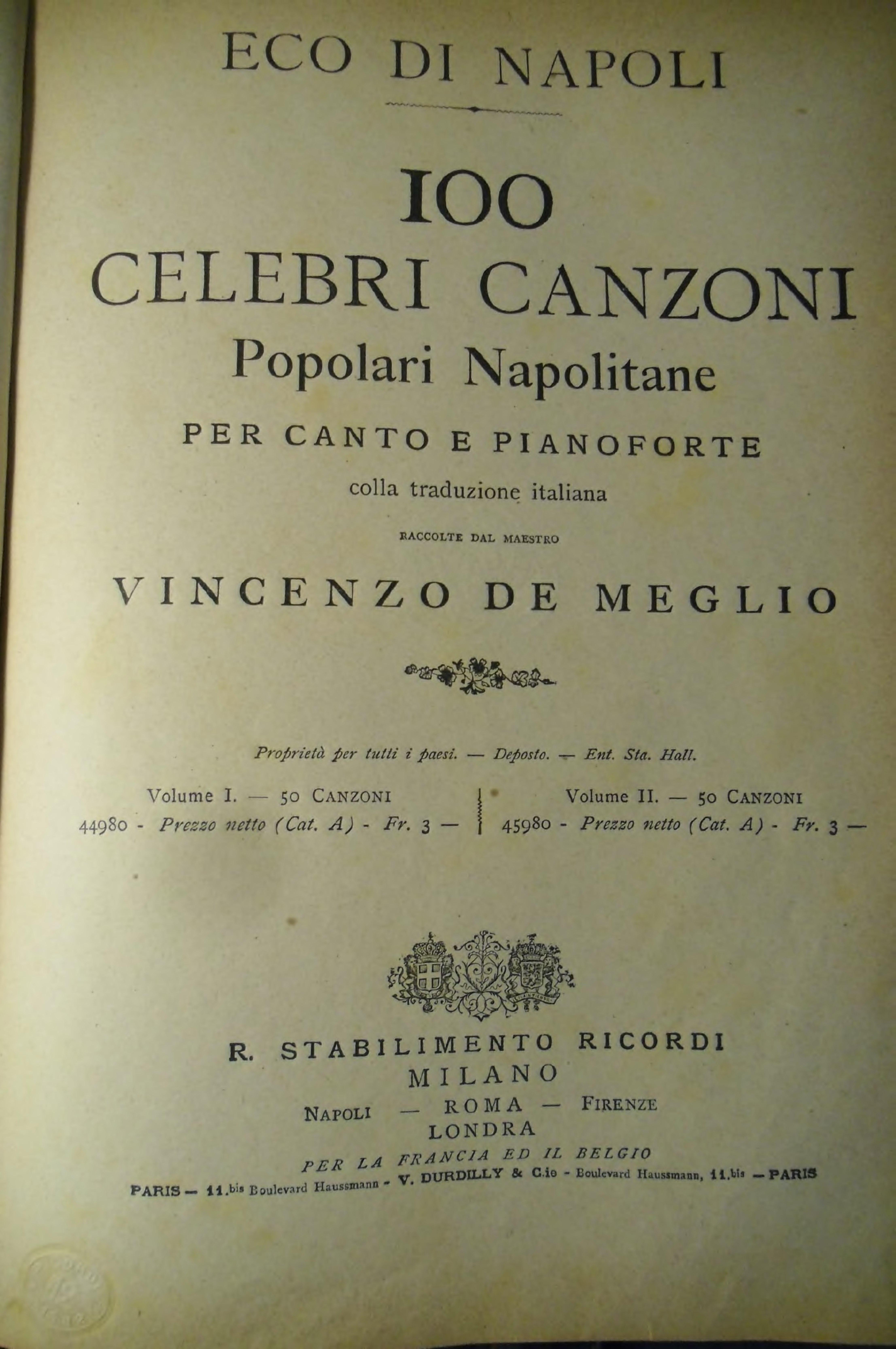 La Canzone Napoletana Vol.2 per canto e pianoforte