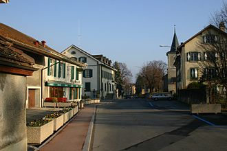 Écublens, Vaud - View of the village square also known as the Motty.