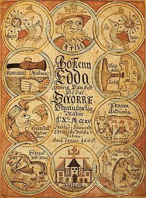 Title page of a manuscript of the Prose Edda, ...