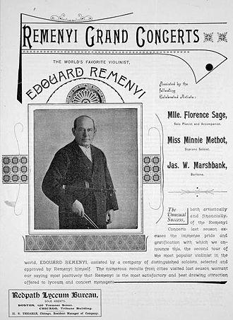 Ede Reményi - Image: Ede Reményi concert program, Boston, 1891