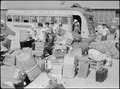 Eden, Idaho. Baggage, belonging to evacuees from the assembly center at Puyallup, Washington, is so . . . - NARA - 538278.tif