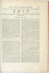 Edit touchant la police des Isles de l'Amérique Françoise, appellé Code Noir, du mois de mars 1685