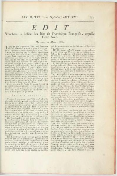 File:Edit touchant la police des Isles de l'Amérique Françoise, Code Noir, 1685.djvu