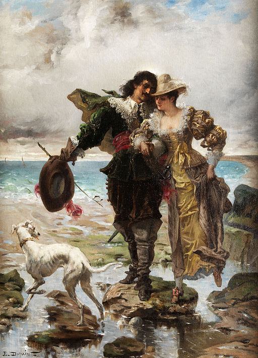 Edmond Louis Dupain Romantische Szene am Meer