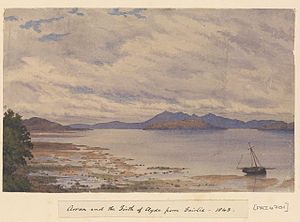 Edward Gennys Fanshawe, Arran and the Firth of Clyde from Fairlie, 1843 (Scotland).jpg