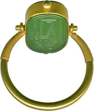 Jasper - Movable Egyptian ring in green jasper and gold, from 664 to 322 BC or later (Late Period), the Walters Art Museum