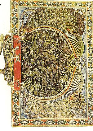 Winchester Psalter - An archangel locks the Hellmouth, from the Winchester Psalter.
