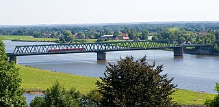 A local train crosses the Elbe near Lauenburg.