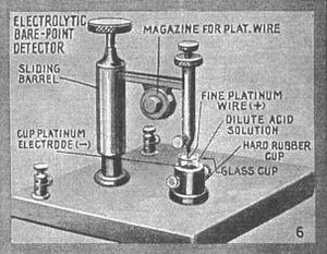 Electrolytic detector - Picture of Fessenden's barretter and diagram showing parts