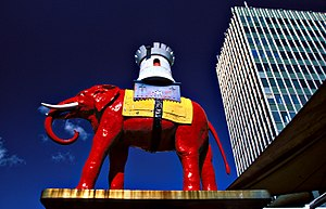 Howdah - Statue at Elephant and Castle intersection in London.