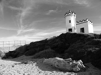 Elie and Earlsferry - Elie Lighthouse in black and white