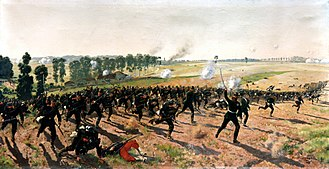 "Battle of Gravelotte - The ""Rifle Battalion 9 from Lauenburg"" at Gravelotte, painting by Ernst Zimmer"
