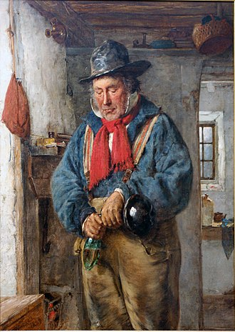 Whisky - A man pours some whisky into a flask in this 1869 oil painting by Scottish artist Erskine Nicol.