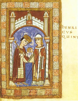 Ruthard of Mainz - Archbishop Ruthard of Mainz hands over the Sphaira to Henry V.