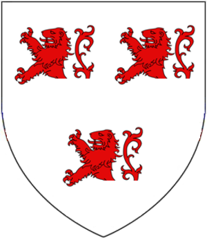 William Esturmy - arms of Esturmy: Argent, three demi-lions rampant gules