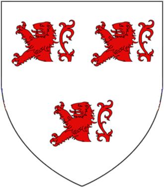 William Esturmy - arms of Esturmy: Argent, three demi-lions rampant gules