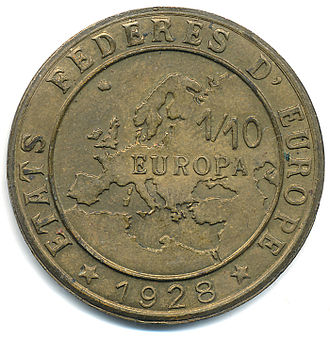 "European integration - A 1928 Europa coin for the hypothetical ""Federated States of Europe"" (États fédérés d'Europe)"