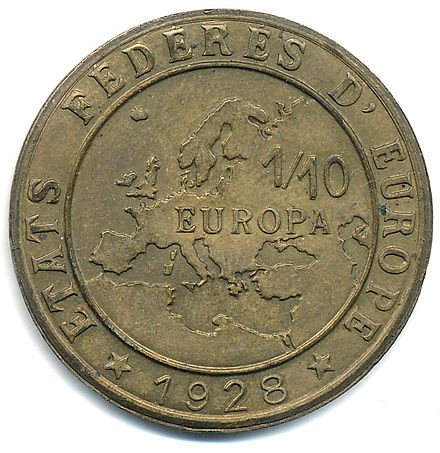"A 1928 Europa coin for the hypothetical ""Federated States of Europe"" (Etats federes d'Europe) Europa 1928 RV.jpg"