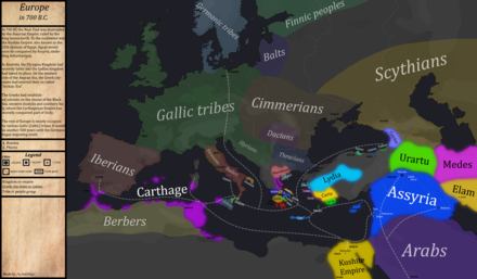 Europe in the year 700 BC, during the Iron Age Europe-In-700BC.png
