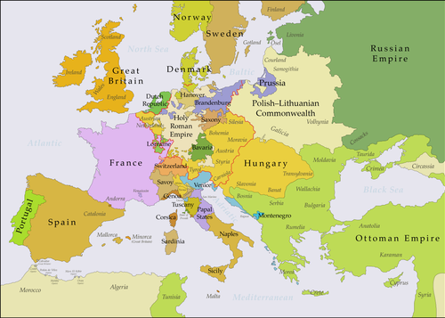 Europe after the Treaty of Vienna (1738), Habsburg Monarchy in gold Europe 1740 en.png