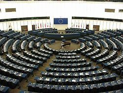 European Parliament session hall, Strasbourg Image: Cédric Puisney.
