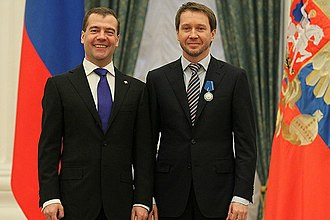 "Order of Honour (Russia) - Evgeny Mironov, Artistic Director of the Federal State Institution of Culture ""The State Theatre of Nations,"" being awarded the Order of Honour by President Dmitry Medvedev on December 29, 2011."