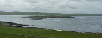 Eynhallow - Eynhallow viewed from Rousay, from the north-east, with the Orkney Mainland beyond
