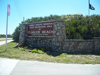 Gamble Rogers Memorial State Recreation Area at Flagler Beach - Image: FL Gamble Rogers SRA west side sign 01