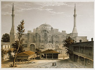 Main (western) facade of Hagia Sophia, seen from courtyard of the madrasa of Mahmud I. Lithograph by Louis Haghe after Gaspard Fossati (1852). Facade principale de Ste Sophie, prise de la cour du medresse - Fossati Gaspard - 1852.jpg