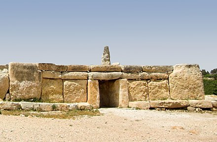 The Megalithic Temples of Malta such as Hagar Qim are built entirely of limestone. They are among the oldest freestanding structures in existence. Facade Hagar Qim.jpg