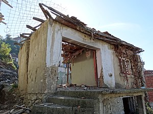 2004 unrest in Kosovo - Ruins of a Kosovo Serb house in Prizren that was destroyed by rioters.