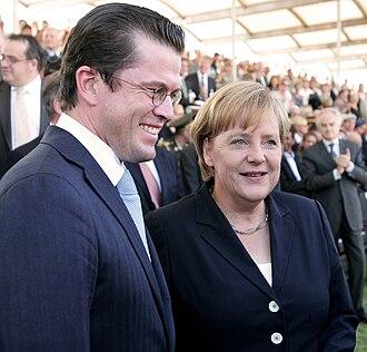 Karl-Theodor zu Guttenberg - Guttenberg with German Chancellor Angela Merkel, 2010