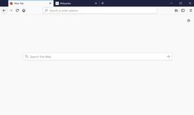 Page d'accueil de Firefox 57 sous Windows 10.