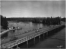 Black and White photo of Fishing bridge ca 1951 in Yellowstone National Park