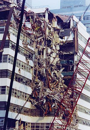 Borough of Manhattan Community College - Fiterman Hall was heavily damaged from the collapse of 7 World Trade Center on 9/11.