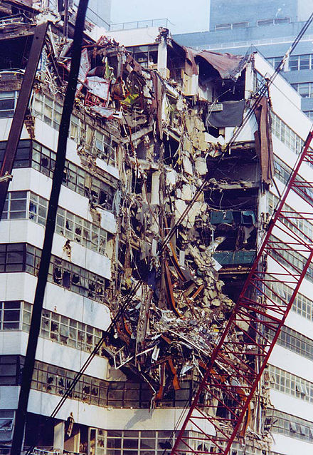 BMCC's Fiterman Hall was heavily damaged from the collapse of 7 World Trade Center. Fiterman hall damage.jpg