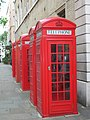 Five red telephone boxes, Broad Court WC2 - geograph.org.uk - 1281746.jpg