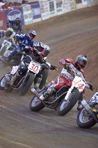 Track racing - Flattrackers entering a corner.