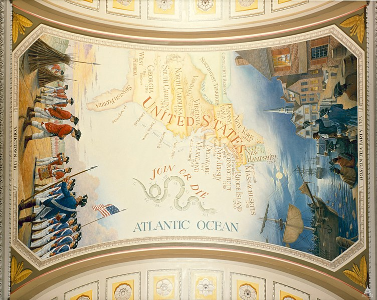 Painting of The First Thirteen Colonies in the US Capitol Building