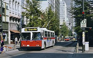 Granville Mall, Vancouver - A trolleybus on the Granville Mall